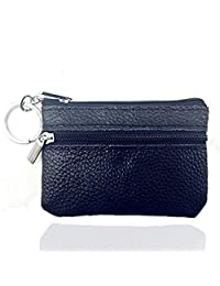 Genuine Leather Coin Purse Men Ladies Mini Zippered Cash Bag Wallet Change Holder with Key Ring(Black)