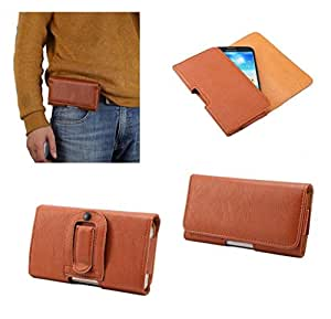 DFV mobile - Case synthetic leather horizontal belt clip for => Blackview Alife P1 Pro > Brown