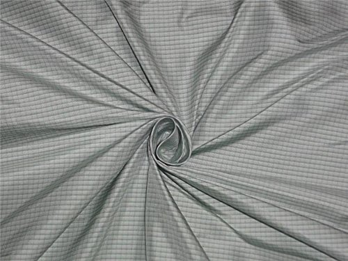 100% PURE SILK TAFFETA FABRIC LIGHT SILVER X MINT GREEN COLOR PLAIDS/ TAF#C42 (Colour C42)