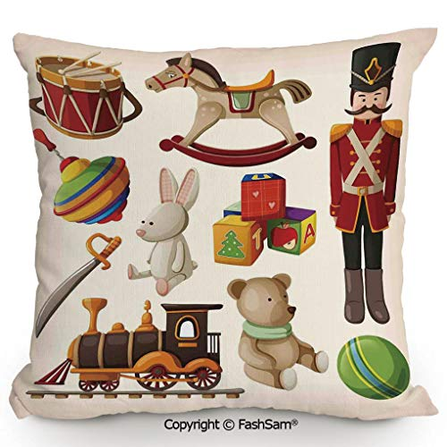 (FashSam Polyester Throw Pillow Cushion Vintage Wooden Toys Decor Rocking Horse Soldier Sword Blocks Doll Drum Train Retro Print Decorative for Sofa Bedroom Car Decorate(14