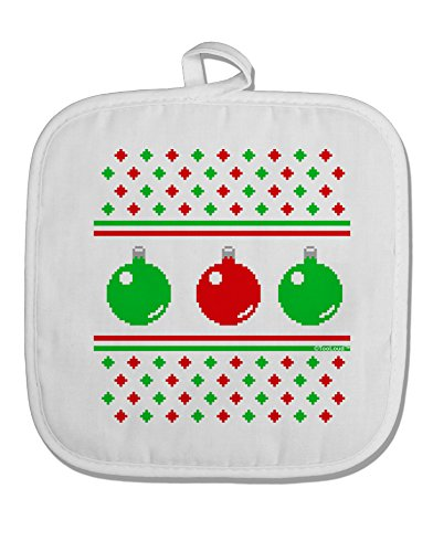 TooLoud Ugly Christmas Sweater Ornaments White Fabric Pot Holder