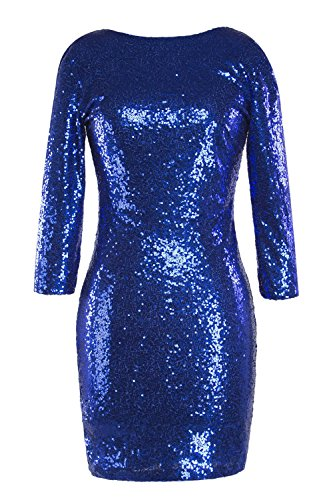 YACUN Damen 3 / 4 Ärmel Pailletten Bodycon Clubwear Mini Party Kleid ...