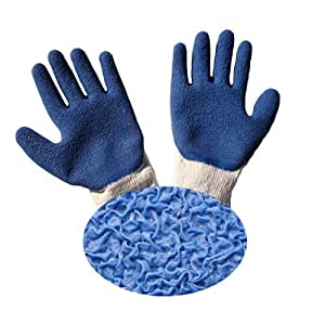 G & F 1511L-DZ Rubber Latex Coated Work Gloves, Blue, Crinkle Pattern, Size Large (Sold by dozen, 12 Pairs)