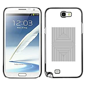 MobileHut / Samsung Note 2 N7100 / Pattern Tiles Abstract Poster White / Delgado Negro Plástico caso cubierta Shell Armor Funda Case Cover