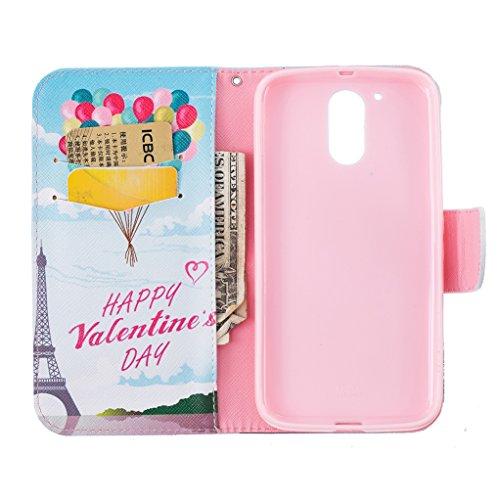 Trumpshop Smartphone Carcasa Funda Protección para Motorola Moto G4 / Moto G4 Plus + Árbol colorido + PU Cuero Caja Protector Billetera con Cierre magnético Choque Absorción Happy Valentines Day