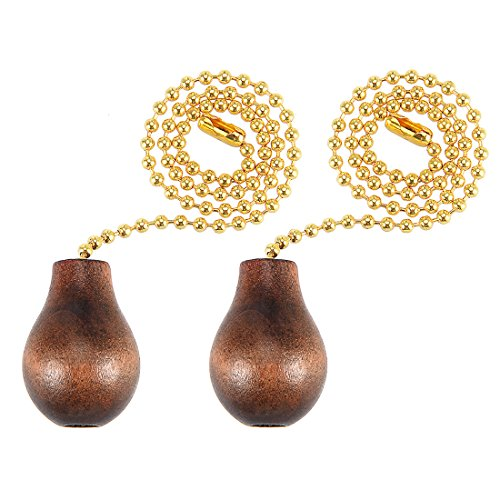 uxcell 12 inch Copper Pull Chain Brown Wood Knob Pendant Lighting Fan Decorative Pack of 2