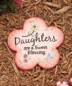 "Mother's Day Daughter Sentiment Pink Flower Garden Yard Stepping Stone 10-1/2"" X 9-1/2"""