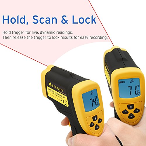 Etekcity Lasergrip 800 Digital Infrared Thermometer Laser Temperature Gun Non-contact -58℉ - 1382℉ (-50℃ to 750℃), Yellow/Black