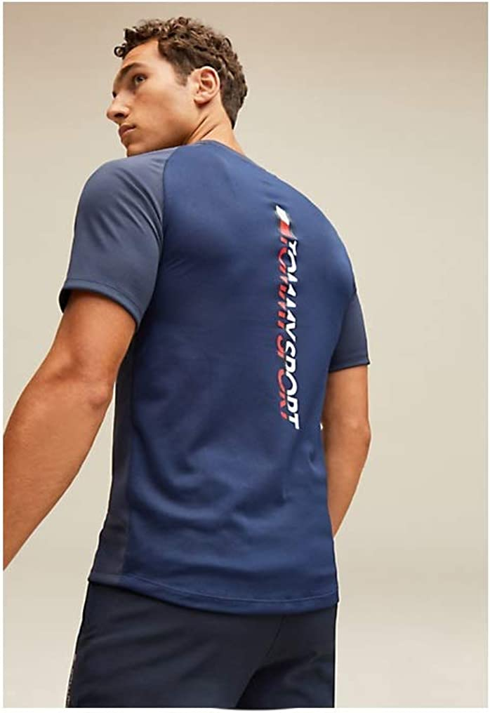 Tommy Sport Back Logo T-shirt tissu technique Homme