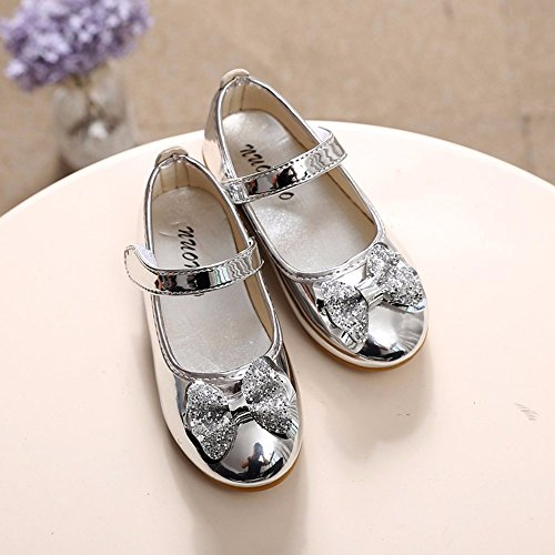 Sparkle Princess Shoes for Girls Sequin Bowknot Flat Shoes Children Velcro Shinning Shoes Mary Jane Princess Party Dress Shoes for Toddlers & Girls by DaoAG - Shoes (Image #4)