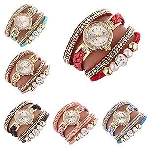 Cdybox Women Ladies Wholesale 6 Pack Diamond Watch Set Lot Leather Wrap Around Bracelet Analog Quartz Dress Wrist…