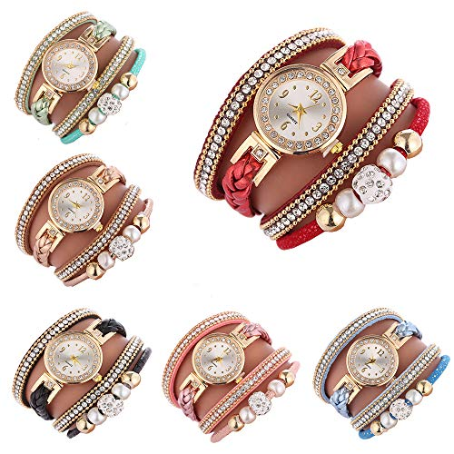 Cdybox Women Ladies Wholesale 6 Pack Diamond Watch Set Lot Leather Wrap Around Bracelet Analog Quartz Dress Wrist Watches (6pcs)