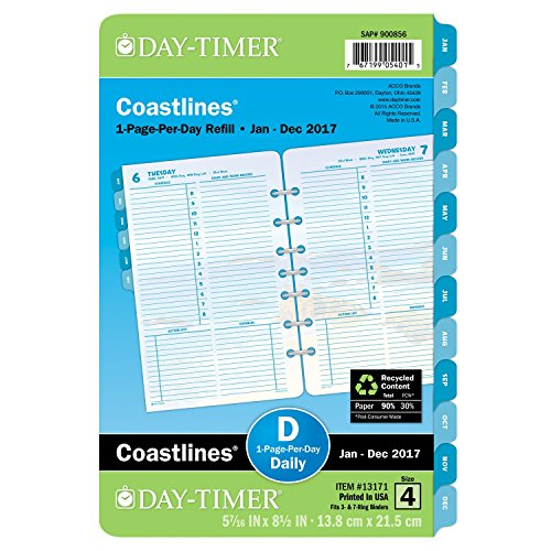 "Day-Timer Planner Refill 2017, One Page Per Day, 5-1/2 x 8-1/2"", Desk Size, Loose-Leaf (13171)"