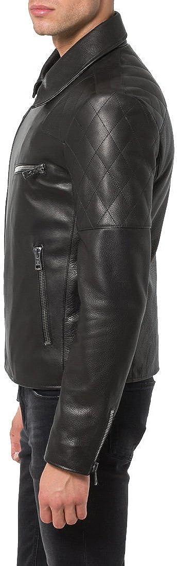 Mens Genuine Cow Leather Jacket Slim Fit Motorcycle Jacket LFC040 XL