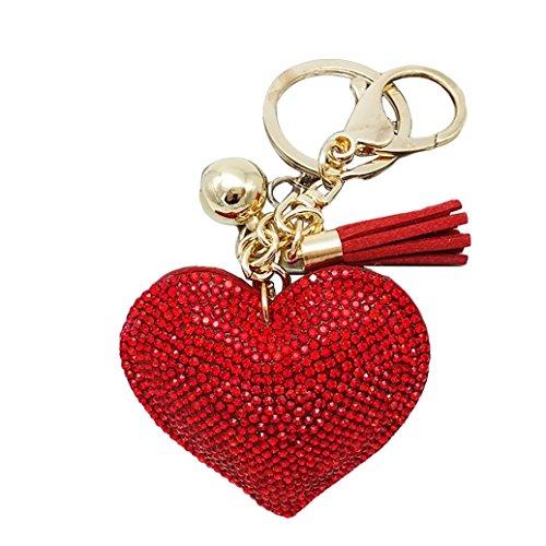 (HEART SPEAKER Romantic Dazzling Rhinestone Love Heart Charm Pendant Fringe Keychain Keyring (Red))