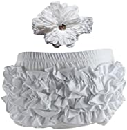 Wennikids Baby Girls' Cotton Ruffle Diaper Covers Headband Set - Multic