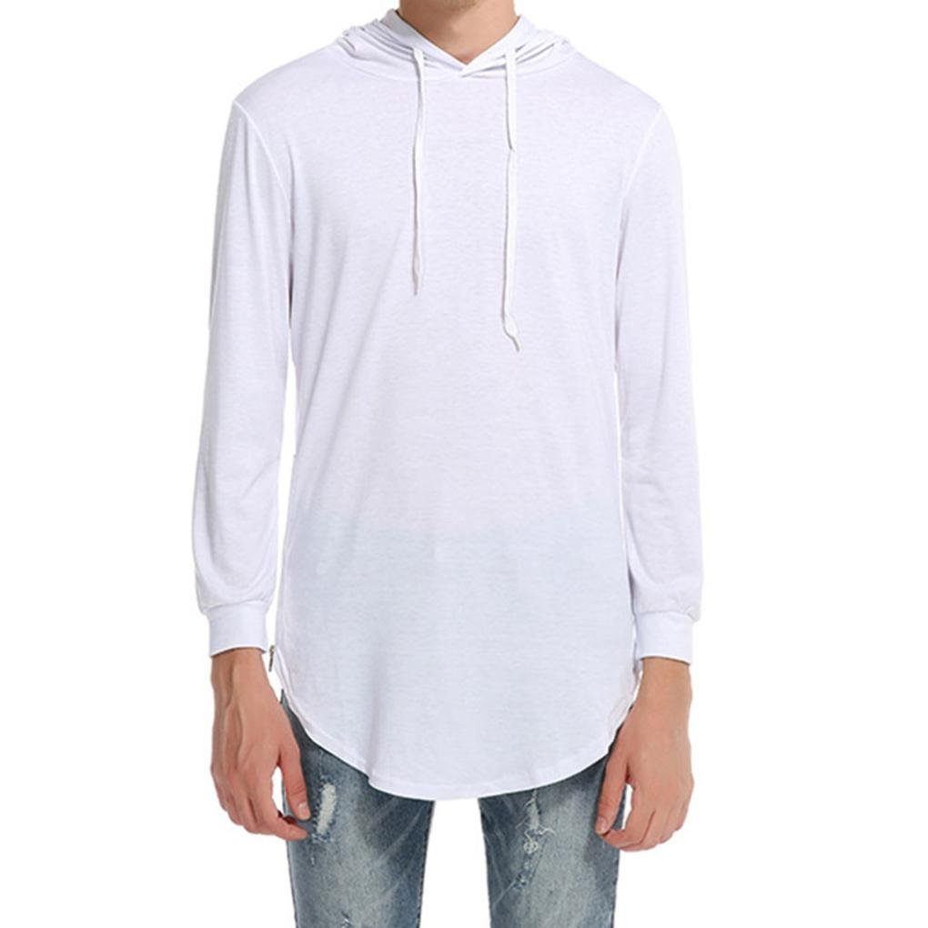 Goddessvan Men's Fashion Hipster Hip Hop Hoodie Side Zipper Tshirt Long Sleeve Tops Blouse