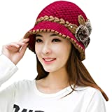 JESPER Fashion Women Lady Winter Warm Crochet Knitted Flowers Decorated Ears Hat Hot