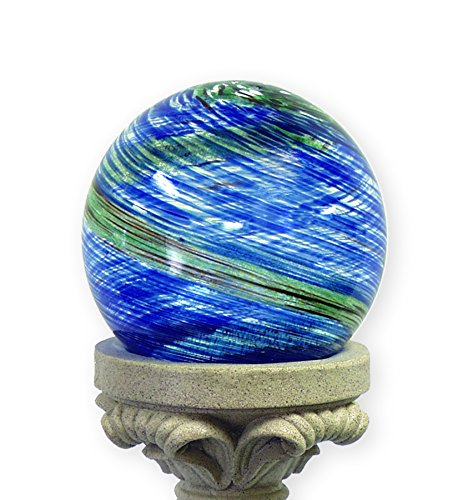 Echo Valley 8140 10-Inch Glow-in-the-Dark Illuminarie Glass Gazing Globe, Light Blue Swirl (Garden Balls Solar)