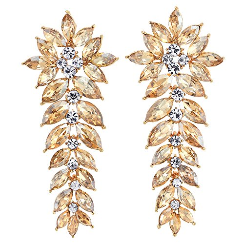 Sparkling Marquise Crystal Rhinestone Grapes Chandelier Long Dangle Statement Earrings, Party, Gold