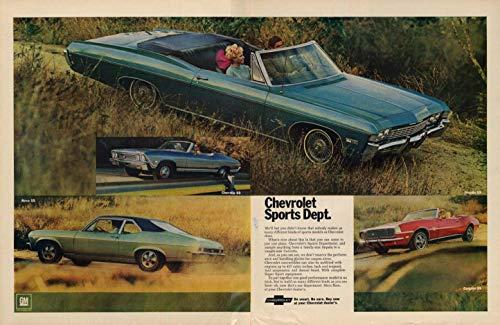 Convertible Nova - Chevrolet Sports Dept: Impala SS Convertible Nova SS Chevelle Camaro ad 1968 L