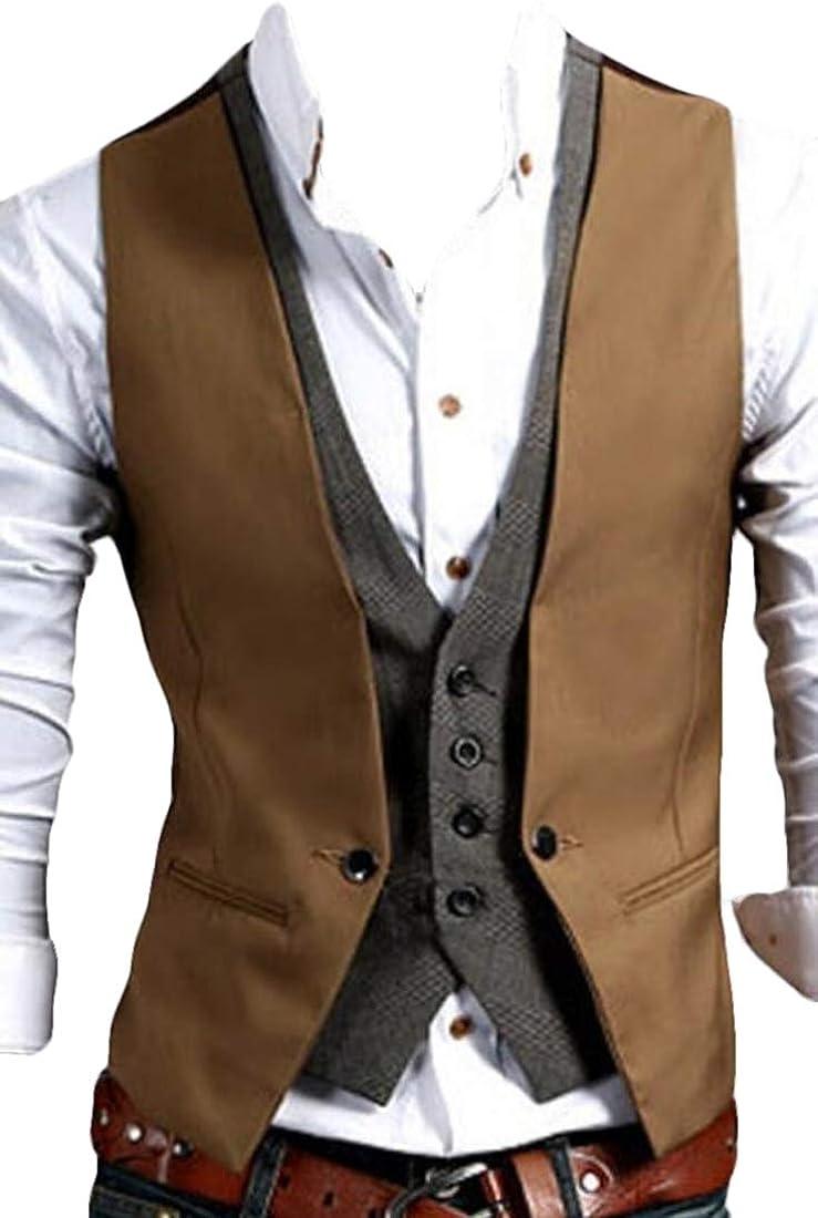 xiaohuoban Men Vest V-Neck Sleeveless Jacket Business Vest Waistcoat