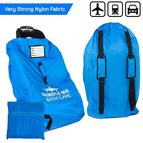 Car Seat Travel Bag Airplane | Gate Check in for Air Travel - Waterproof - 600D Nylon Fabric W/Adjustable Strap (Blue)
