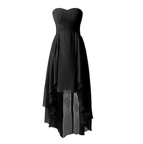 KA Beauty Womens Sweetheart Bridesmaid Chiffon Prom Dresses Hi-Lo Evening Dresses Black UK6