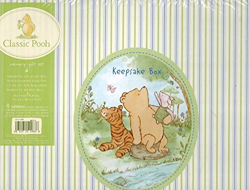 Classic Pooh Memory Gift Set (Keepsake Box with Growth Chart, Birth Announcement Frame, 1st Curl and 1st Tooth Boxes, Plaster Hand Print Kit and Photo Album) ()