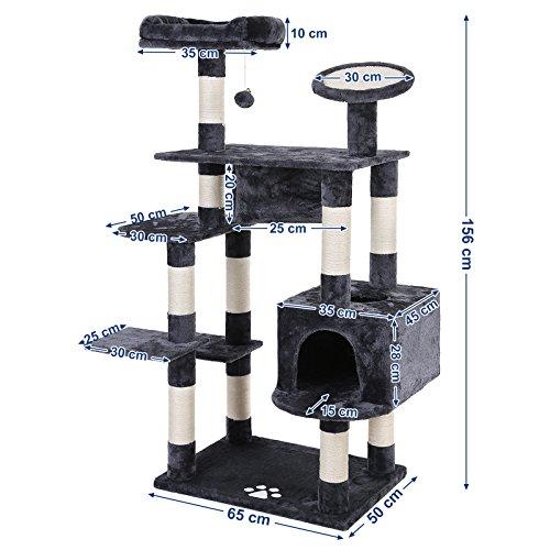SONGMICS Árbol para Gatos Rascador con Varias Plataformas Casita Lujosa Cilindro Postes Recubiertos por Cuerda de Sisal Gris Claro PCT65G: Amazon.es: ...