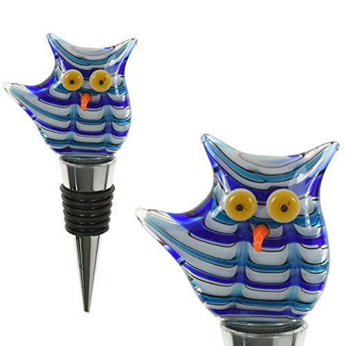 PrestigeHaus Glass Blue Owl Wine Bottle Stopper - Decorative, Colorful, Unique, Handmade, Eye-Catching Glass Wine Stoppers - Wine Accessories Gift for Host/Hostess - Wine Corker/Sealer