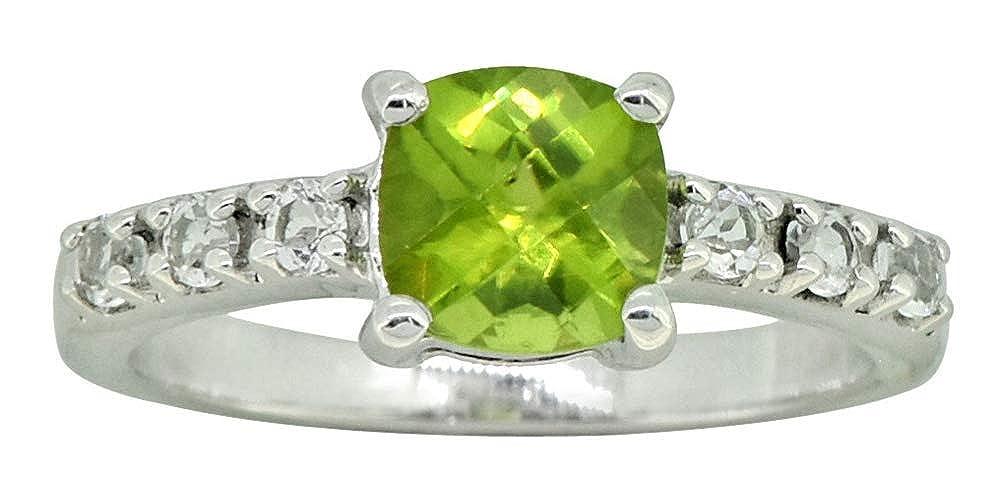 YoTreasure Natural Green Peridot White Topaz 925 Sterling Silver Promise Ring