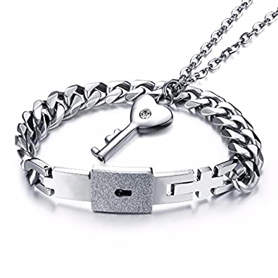 8e16205d94 Buy University Trendz Newest Design Lock and Key Stainless Steel Couple  Bracelet Pendant Necklace Set for Boys, Girls, Men & Women Online at Low  Prices in ...