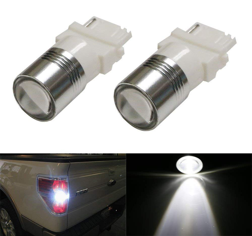 Xenon White High Power 3156 3157 LED Backup Reverse Light Bulbs Powerd By 5W CREE XP-E LED Emitter iJDMTOY Auto Accessories OEM Halogen Incandescent Replace Bulbs 2 iJDMTOY