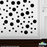 Set of 30 - Circles Polka Dots Vinyl Wall Graphic Decals Stickers (Black)