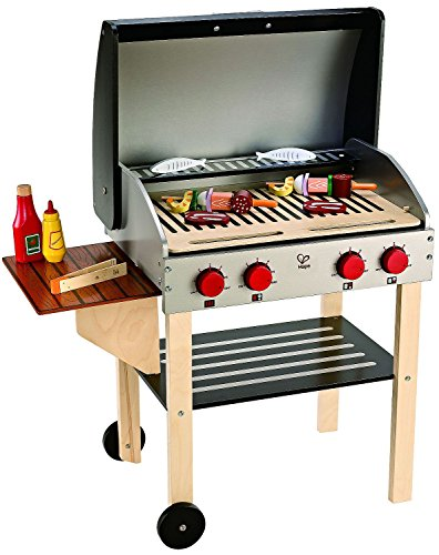 Hapy Gourmet BBQ Grill and Shish Kabob Wooden Kitchen Play Food Set with Accessories