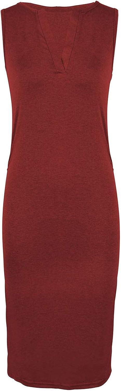 SEMIR Damen Bodycon Midikleid Hoch Taille Etuikleid Abendkleid Pencil Party Kleider Elegant /Ärmellos Tr/ägerkleid Wickelkleid Einfarbig mit Stretch