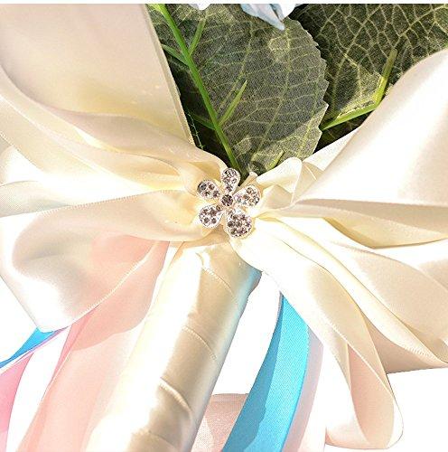 Moleya 9 Inch Handmade Vintage Artificial Silk Roses Wedding Bouquet for Bridal Bridesmaid Holding Flower, Pink+Blue Flower
