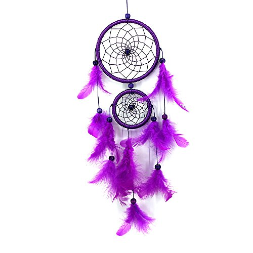 Tuscom Dream Catcher |Solid Color New Double-Ring Satin Line Poma | Handmade Goose Feather Floating Lace|Hanging Decoration Ornament Gift (6 Colors) (Purple)