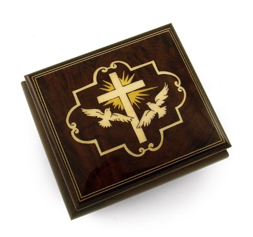 Harmonious Cross and Dove Sorrento Wood Inlay Music Jewelry Box with 18 Note Tune-Row Your Boat
