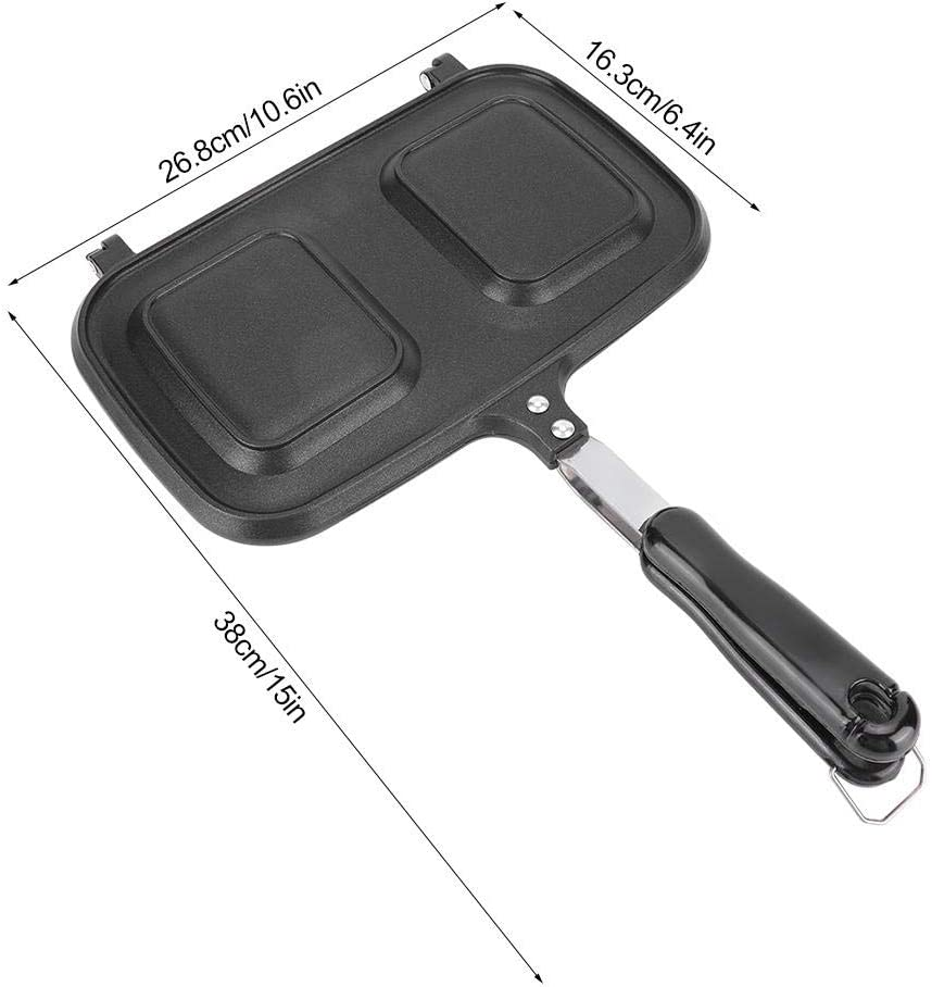 Cast Aluminium Multi-function Breakfast Double Sid ed Non-Stick Frying Pan Kitchen Cooking Utensil Tool Sandwich Cooking Pan Grilled Panini Maker Baking Bread Pancake