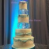 "Elegant 2 Piece Set Crystal Cake Separators 8"" & 10"" Wedding Cake Stands with Free LED Light Made of Acrylic Crystals (Purple LED Light)"