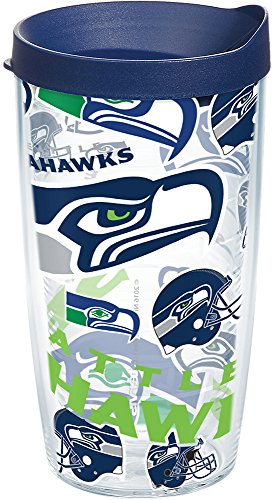 (Tervis 1248195 NFL Seattle Seahawks All Over Tumbler with Wrap and Navy Lid 16oz, Clear)