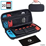 CamKix Case compatible with Nintendo Switch - Protects your Nintendo Switch Console, Joy Cons, Games and Accessories - Protective Hard Shell Storage and Travel Bag / Pouch - Fits 20 Games - Zippered Mesh Pocket