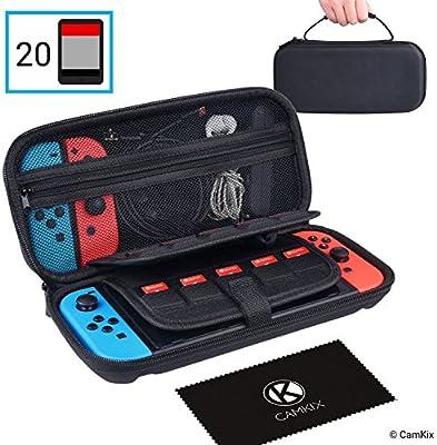CAMKIX Estuche, Compatible con Nintendo Switch - Protege su Consola Nintendo Switch, Joy Cons, Juegos y Accesorios - Funda Protectora Dura y Bolsa de Viaje - Se Adapta a 20 Juegos: Amazon.es: Electrónica