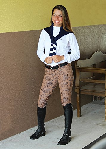 Equine Couture Ladies Darsy Show Shirt (White/Navy, S)