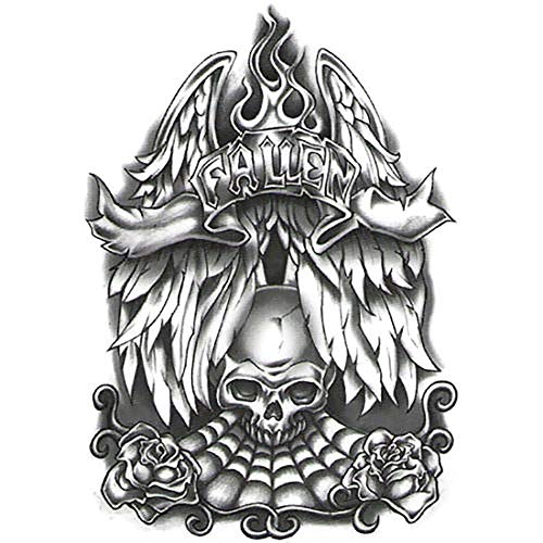 Irvint & Co Urban Black & White Temporary Tattoo Fallen Angel Wings with Skull & Roses Style For Men Women Hands Arms Sleeves Neck Chest Temporary Tattoos Dead Skull Kids Fake Tattoos Stickers -