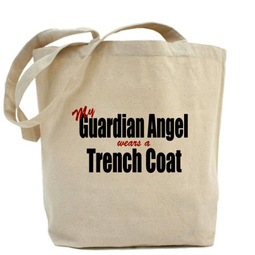 CafePress–Il mio angelo custode indossa un trench–Borsa di tela naturale, panno borsa per la spesa