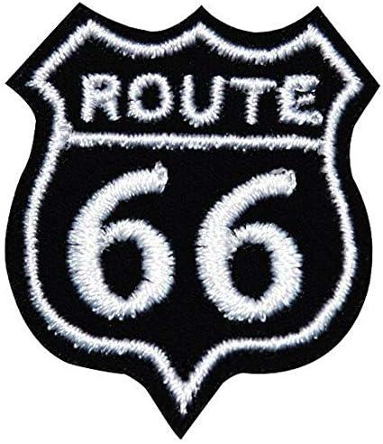 ワッペン 刺繍 アイロン接着 縦3.8cm×横3.2cm ROUTE66 ロゴ 数字 アイロンワッペン ハンドメイド 手芸 人気 WAPPEN (ブラック)