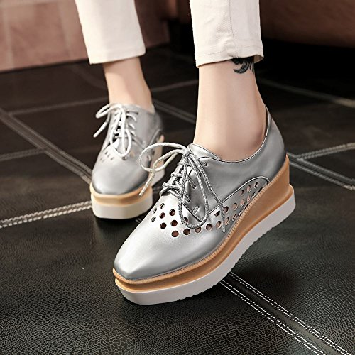Latasa Mujeres Round-hollow-out Plataforma Cuñas Zapatos Plata